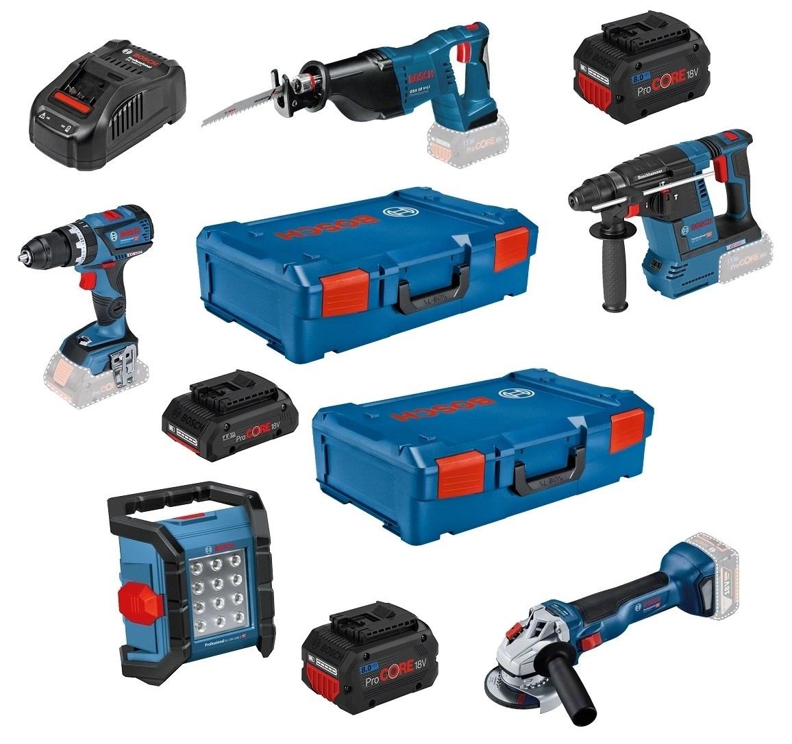 Bosch Werkzeug-Set 5-tlg 18 V + 3x PC 18V + GAL + 2x X-L-Boxx